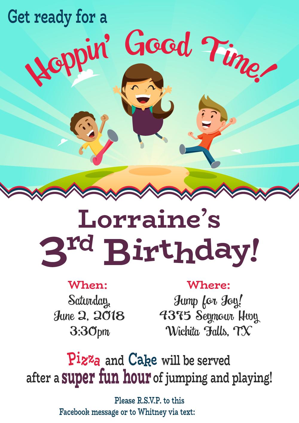 girl s hoppin good time birthday invitation biller designs